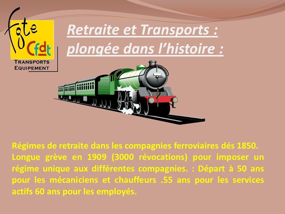 Retraite et Transports : plongée dans lhistoire : Régimes de retraite dans les compagnies ferroviaires dés 1850. Longue grève en 1909 (3000 révocation
