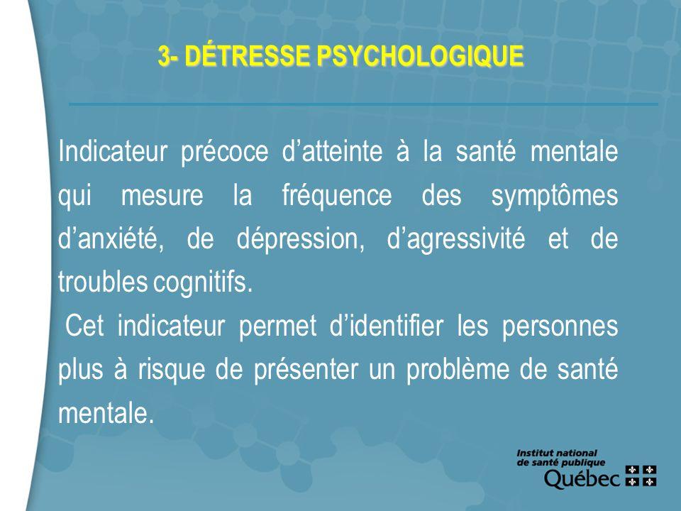 13 3- DÉTRESSE PSYCHOLOGIQUE Indicateur précoce datteinte à la santé mentale qui mesure la fréquence des symptômes danxiété, de dépression, dagressivi