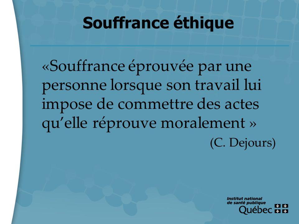 21 Souffrance éthique «Souffrance éprouvée par une personne lorsque son travail lui impose de commettre des actes quelle réprouve moralement » (C. Dej