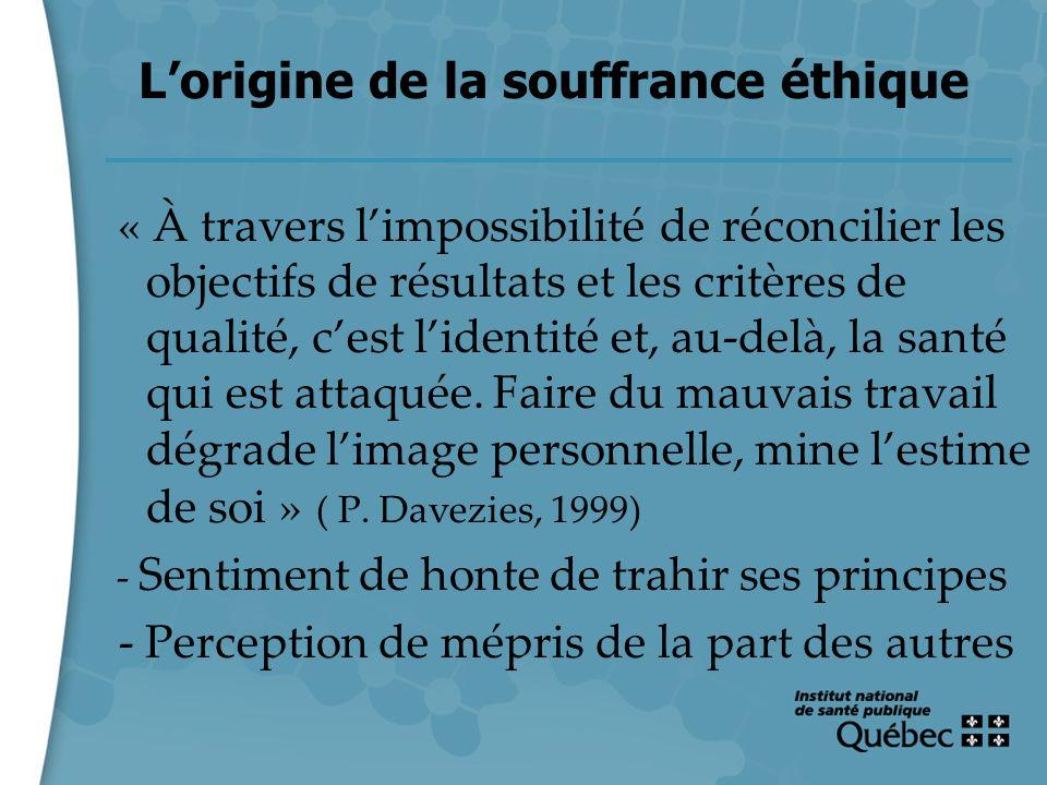 22 Lorigine de la souffrance éthique « À travers limpossibilité de réconcilier les objectifs de résultats et les critères de qualité, cest lidentité e