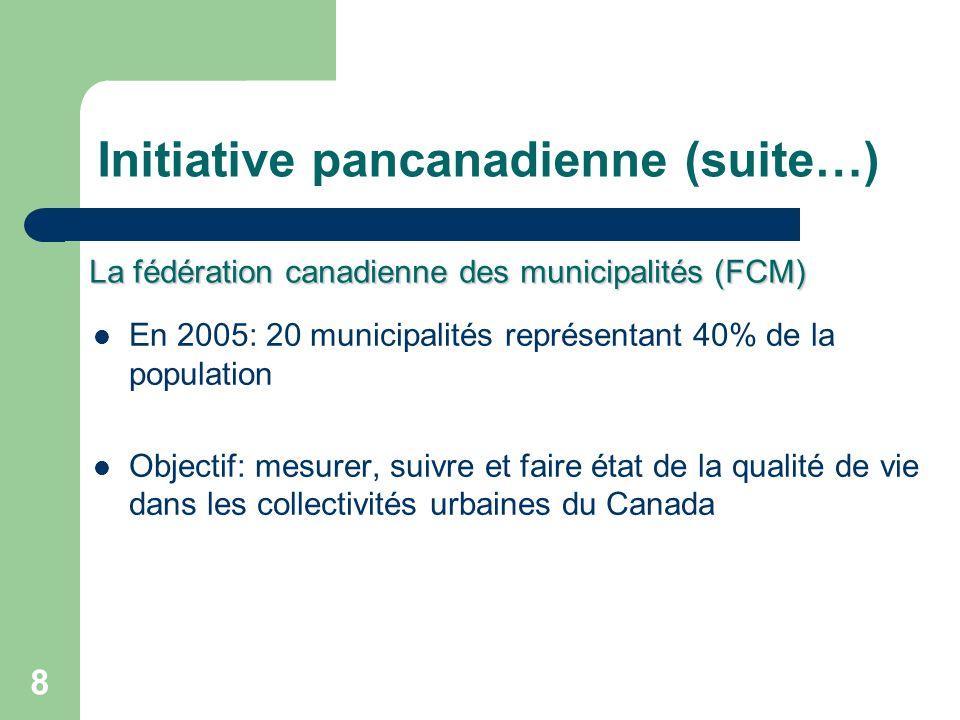 8 Initiative pancanadienne (suite…) En 2005: 20 municipalités représentant 40% de la population Objectif: mesurer, suivre et faire état de la qualité de vie dans les collectivités urbaines du Canada La fédération canadienne des municipalités (FCM)