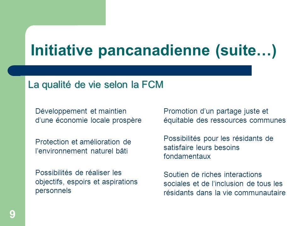 9 Initiative pancanadienne (suite…) Développement et maintien dune économie locale prospère Protection et amélioration de lenvironnement naturel bâti
