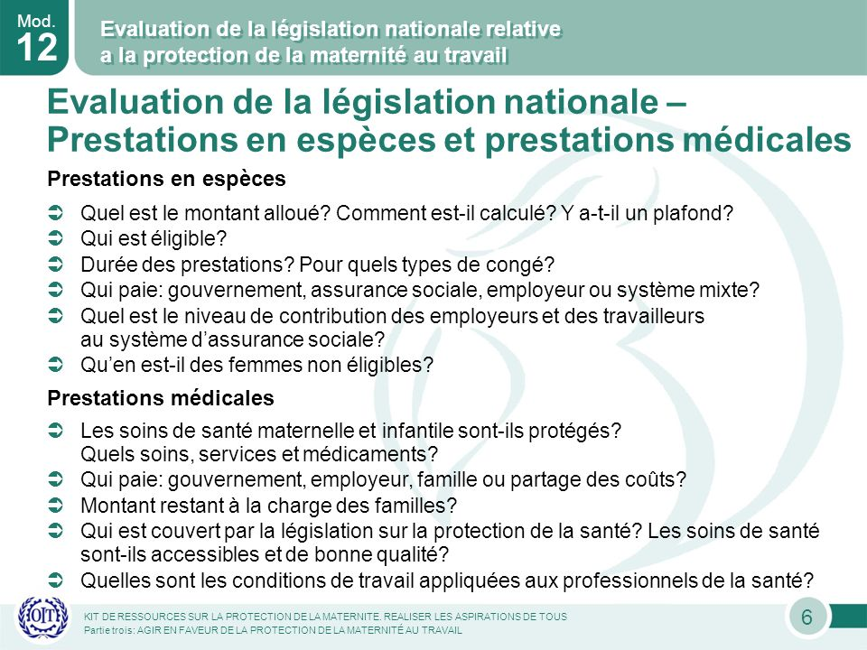 Mod. 12 KIT DE RESSOURCES SUR LA PROTECTION DE LA MATERNITE.