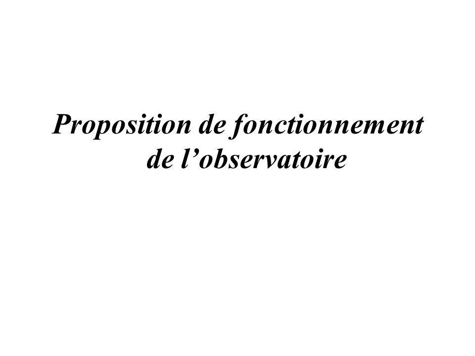 Proposition de fonctionnement de lobservatoire