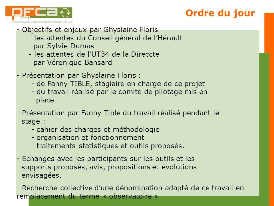 Ordre du jour - Objectifs et enjeux par Ghyslaine Floris - les attentes du Conseil général de lHérault par Sylvie Dumas - les attentes de lUT34 de la
