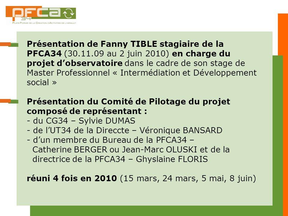 Présentation de Fanny TIBLE stagiaire de la PFCA34 (30.11.09 au 2 juin 2010) en charge du projet dobservatoire dans le cadre de son stage de Master Pr