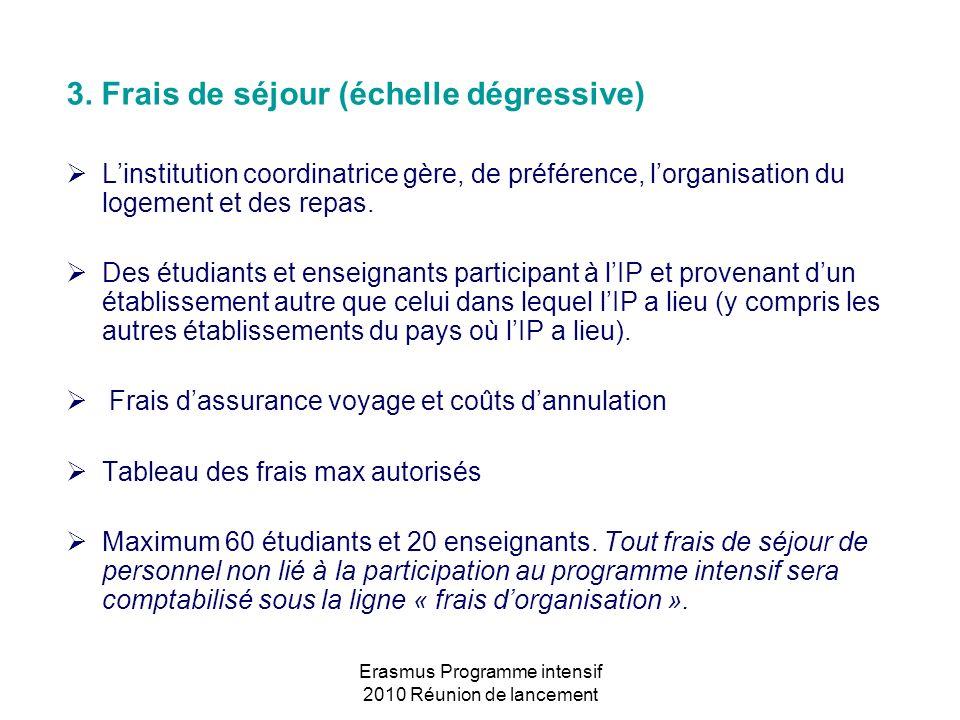 Erasmus Programme intensif 2010 Réunion de lancement 3. Frais de séjour (échelle dégressive) Linstitution coordinatrice gère, de préférence, lorganisa