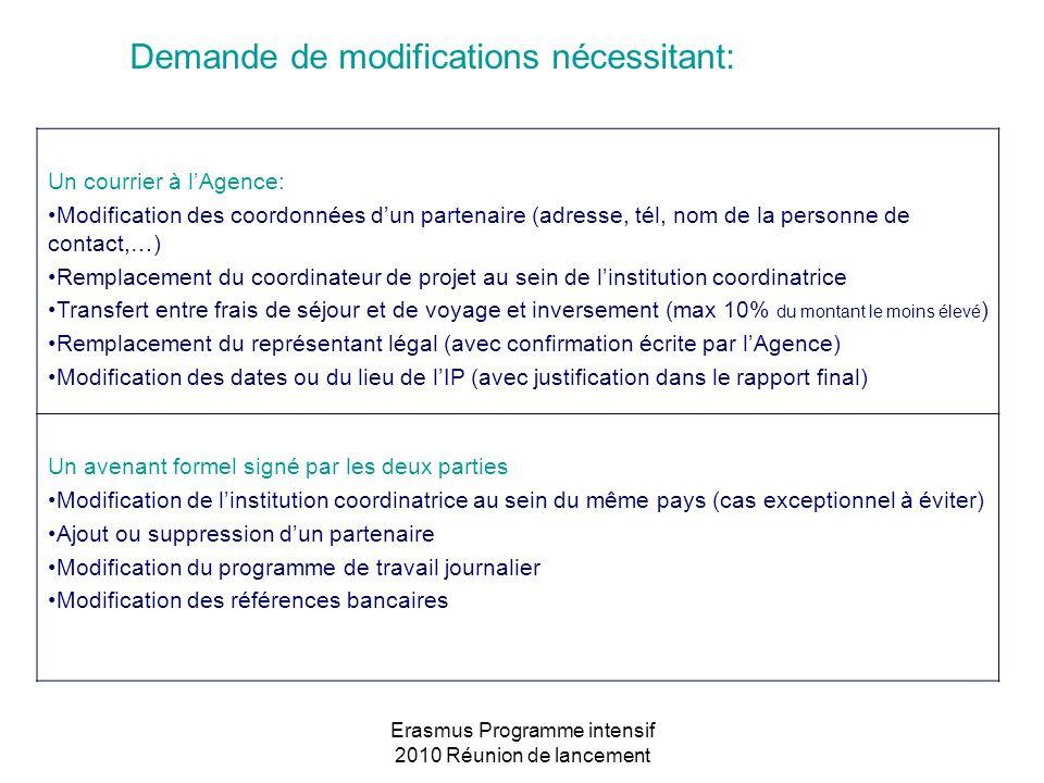 Erasmus Programme intensif 2010 Réunion de lancement Demande de modifications nécessitant: Un courrier à lAgence: Modification des coordonnées dun par