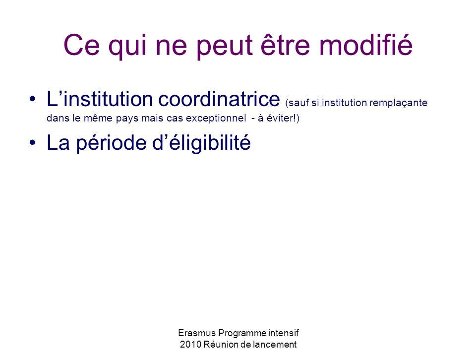 Erasmus Programme intensif 2010 Réunion de lancement Ce qui ne peut être modifié Linstitution coordinatrice (sauf si institution remplaçante dans le m