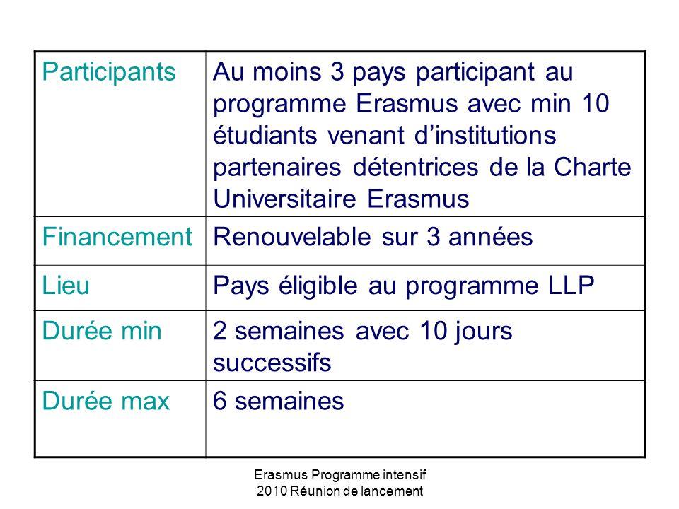 Erasmus Programme intensif 2010 Réunion de lancement ParticipantsAu moins 3 pays participant au programme Erasmus avec min 10 étudiants venant dinstit