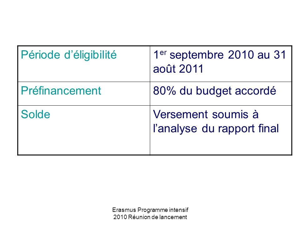 Erasmus Programme intensif 2010 Réunion de lancement Période déligibilité1 er septembre 2010 au 31 août 2011 Préfinancement80% du budget accordé Solde