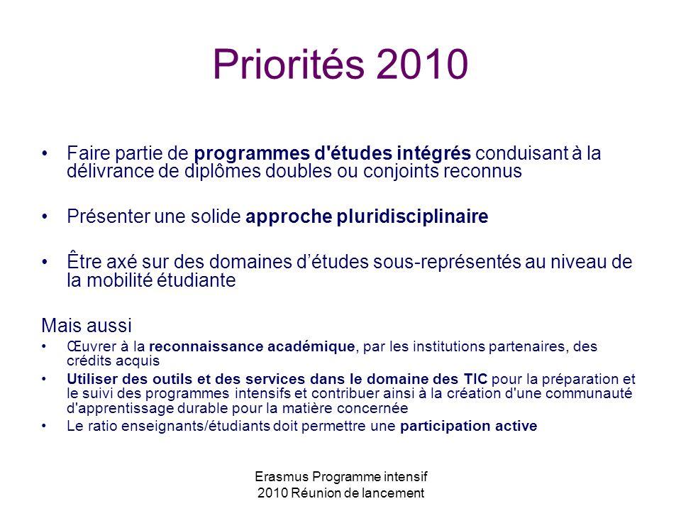 Erasmus Programme intensif 2010 Réunion de lancement Priorités 2010 Faire partie de programmes d'études intégrés conduisant à la délivrance de diplôme