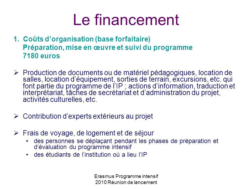 Erasmus Programme intensif 2010 Réunion de lancement Le financement 1. Coûts dorganisation (base forfaitaire) Préparation, mise en œuvre et suivi du p