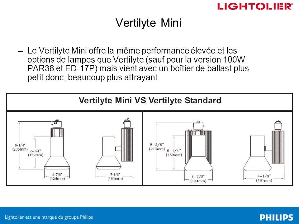 –Le Vertilyte Mini offre la même performance élevée et les options de lampes que Vertilyte (sauf pour la version 100W PAR38 et ED-17P) mais vient avec un boîtier de ballast plus petit donc, beaucoup plus attrayant.