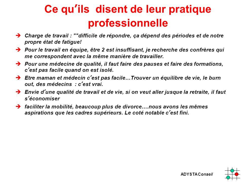 ADYSTA Conseil Ce quils disent de leur pratique professionnelle èCharge de travail :
