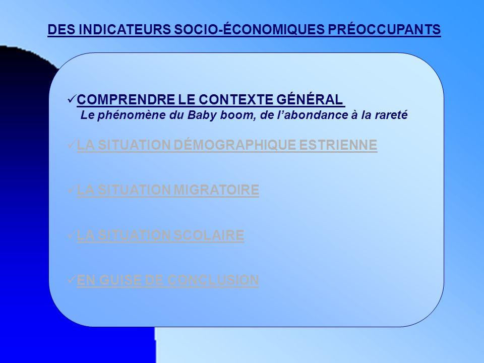 DES INDICATEURS SOCIO-ÉCONOMIQUES PRÉOCCUPANTS COMPRENDRE LE CONTEXTE GÉNÉRAL Le phénomène du Baby boom, de labondance à la rareté LA SITUATION DÉMOGR