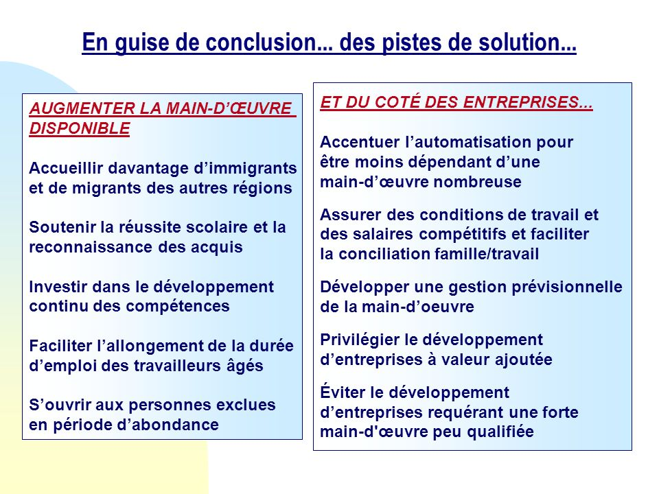 En guise de conclusion... des pistes de solution...