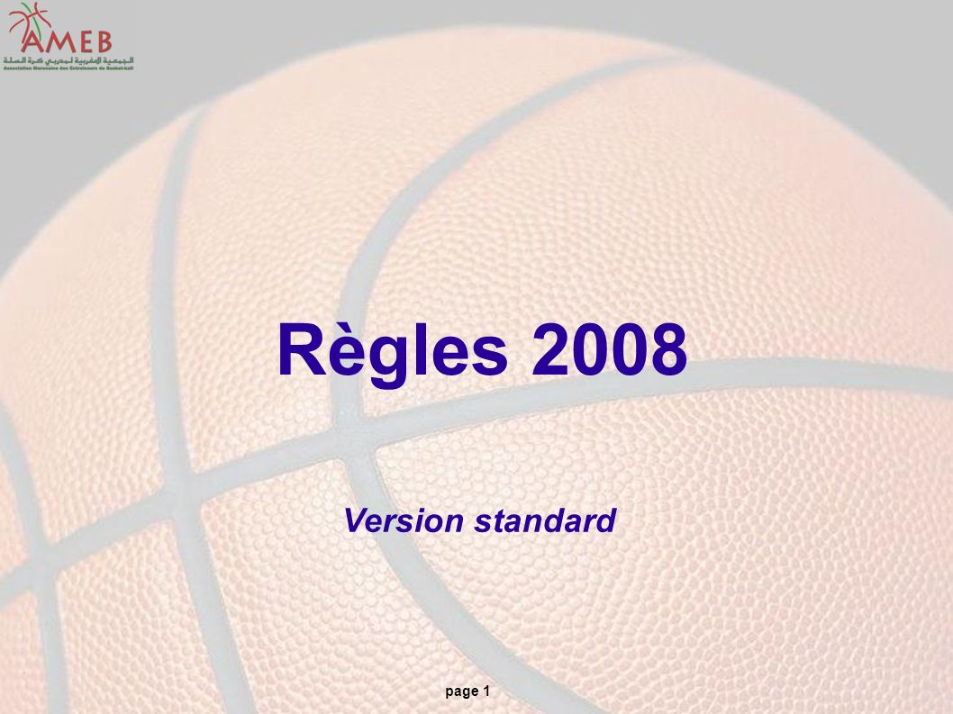 page 1 Règles 2008 Version standard
