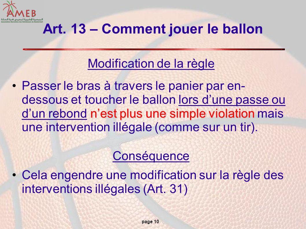 page 10 Art. 13 – Comment jouer le ballon Modification de la règle nest plus une simple violationPasser le bras à travers le panier par en- dessous et