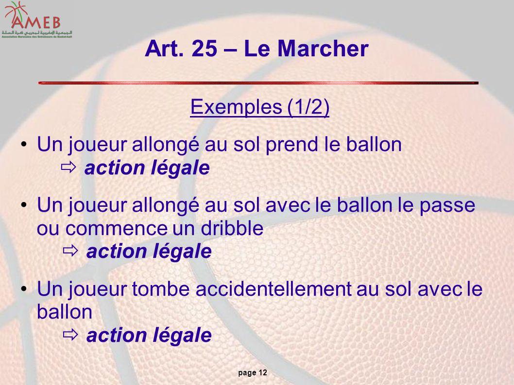 page 12 Art. 25 – Le Marcher Exemples (1/2) Un joueur allongé au sol prend le ballon action légale Un joueur allongé au sol avec le ballon le passe ou