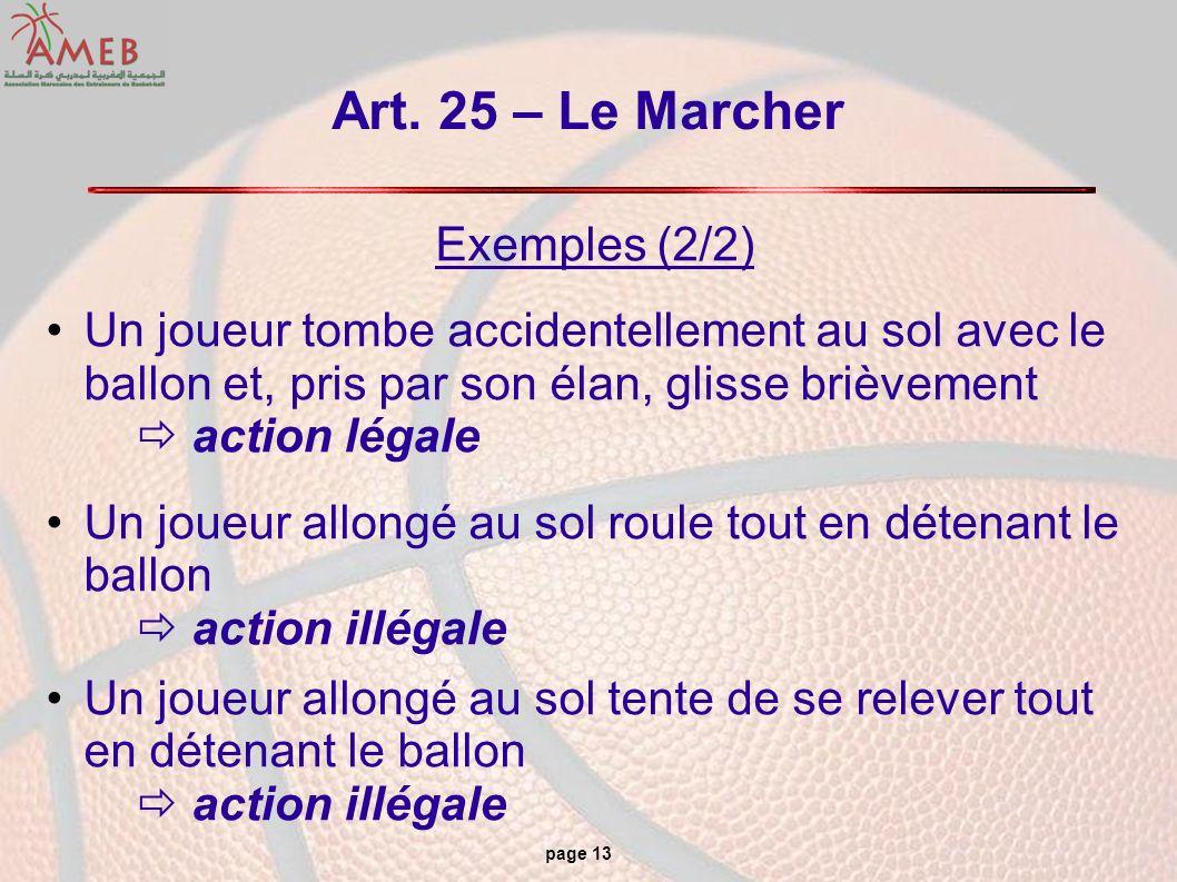 page 13 Art. 25 – Le Marcher Exemples (2/2) Un joueur tombe accidentellement au sol avec le ballon et, pris par son élan, glisse brièvement action lég