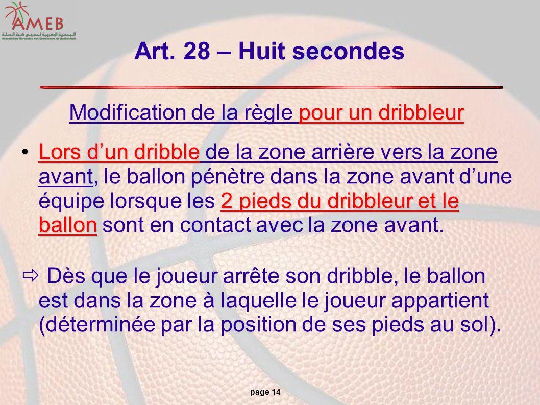 page 14 Art. 28 – Huit secondes pour un dribbleur Modification de la règle pour un dribbleur Lors dun dribble 2 pieds du dribbleur et le ballonLors du