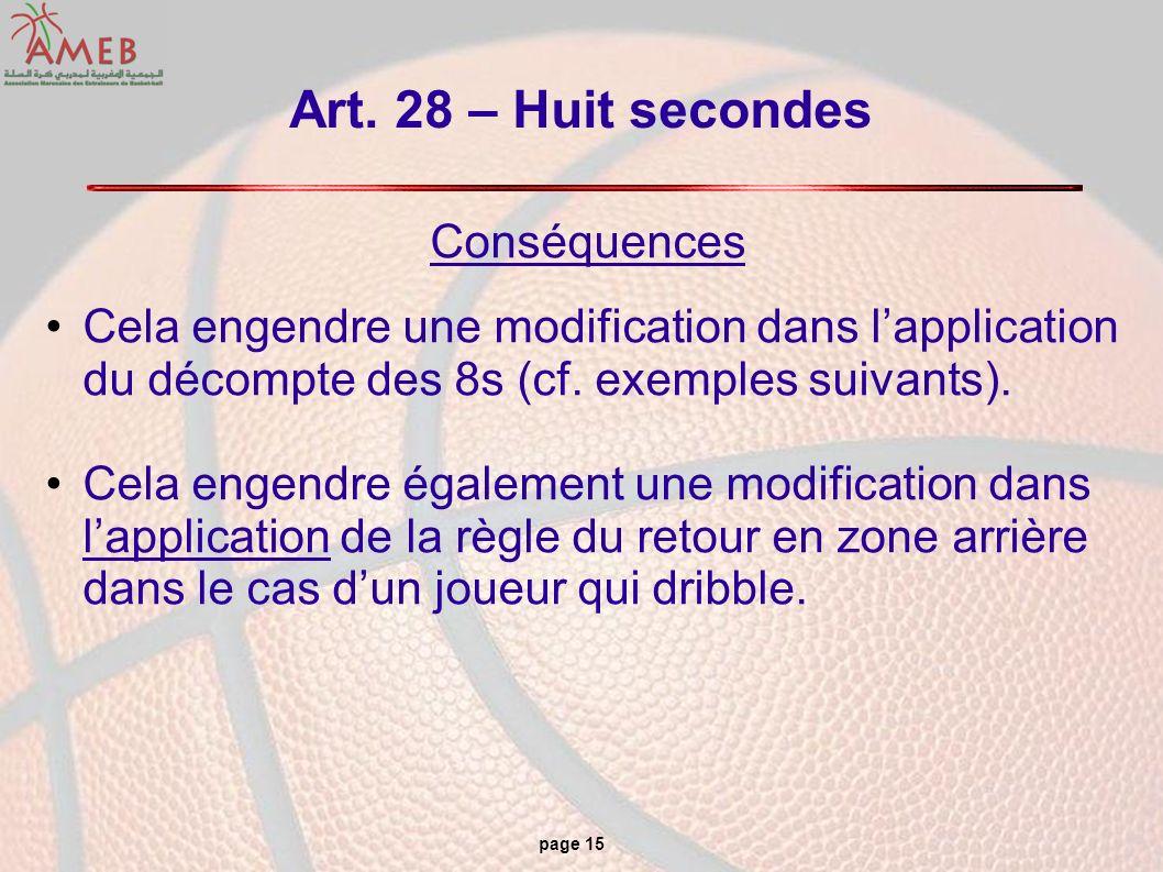 page 15 Art. 28 – Huit secondes Conséquences Cela engendre une modification dans lapplication du décompte des 8s (cf. exemples suivants). Cela engendr