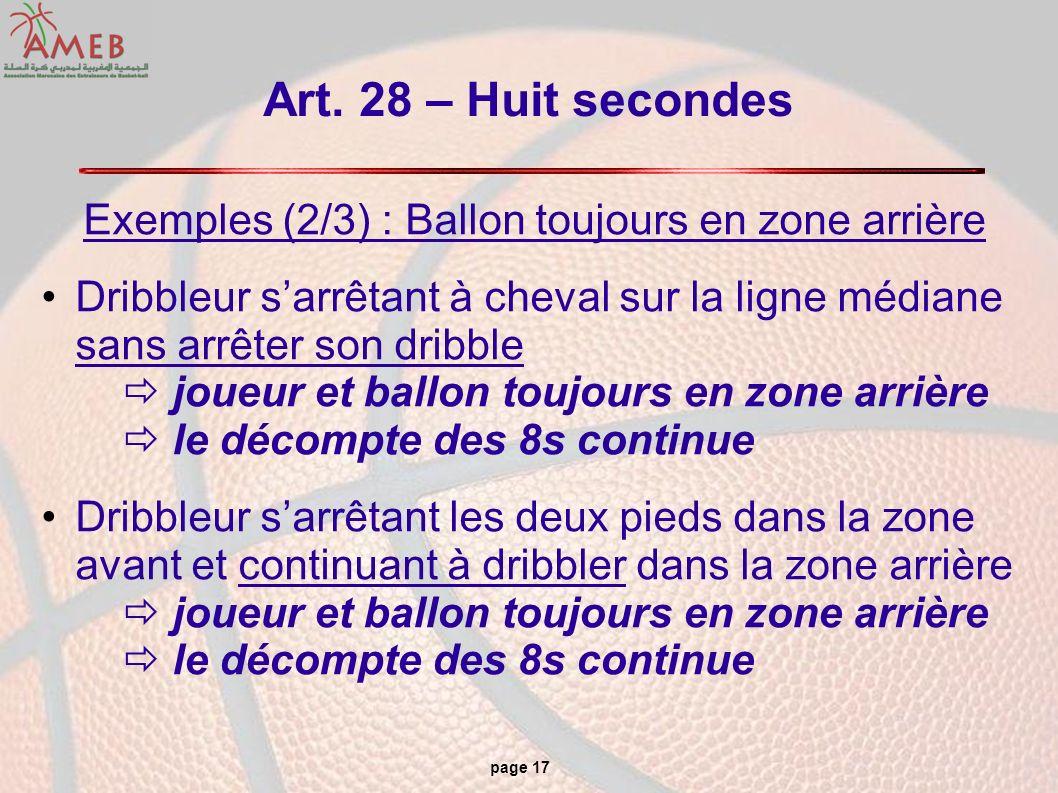 page 17 Art. 28 – Huit secondes Exemples (2/3) : Ballon toujours en zone arrière Dribbleur sarrêtant à cheval sur la ligne médiane sans arrêter son dr