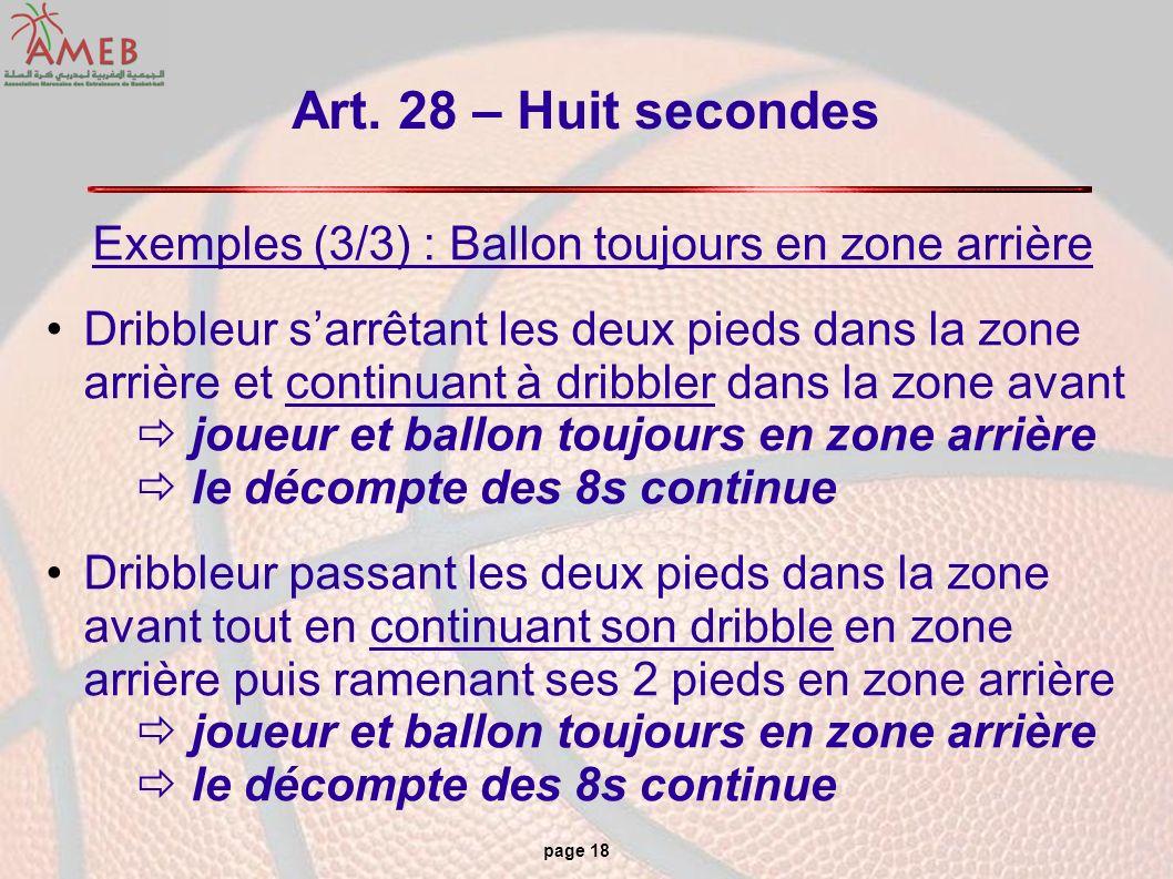 page 18 Art. 28 – Huit secondes Exemples (3/3) : Ballon toujours en zone arrière Dribbleur sarrêtant les deux pieds dans la zone arrière et continuant