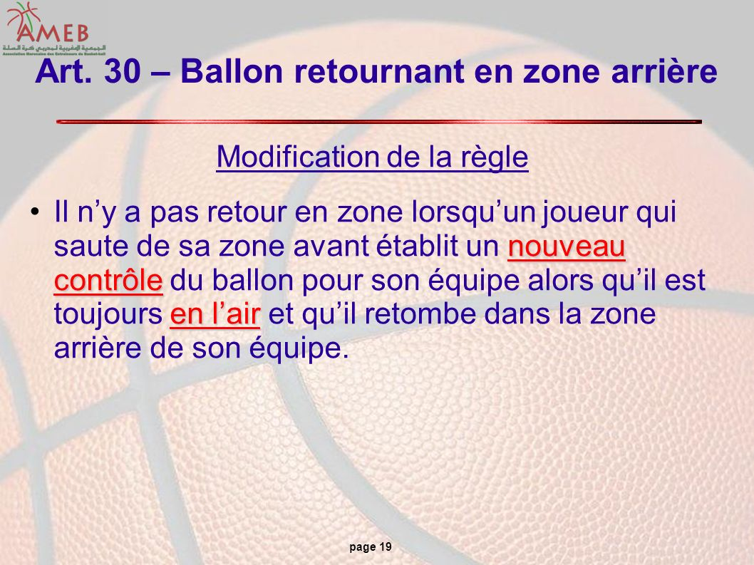 page 19 Art. 30 – Ballon retournant en zone arrière Modification de la règle nouveau contrôle en lairIl ny a pas retour en zone lorsquun joueur qui sa
