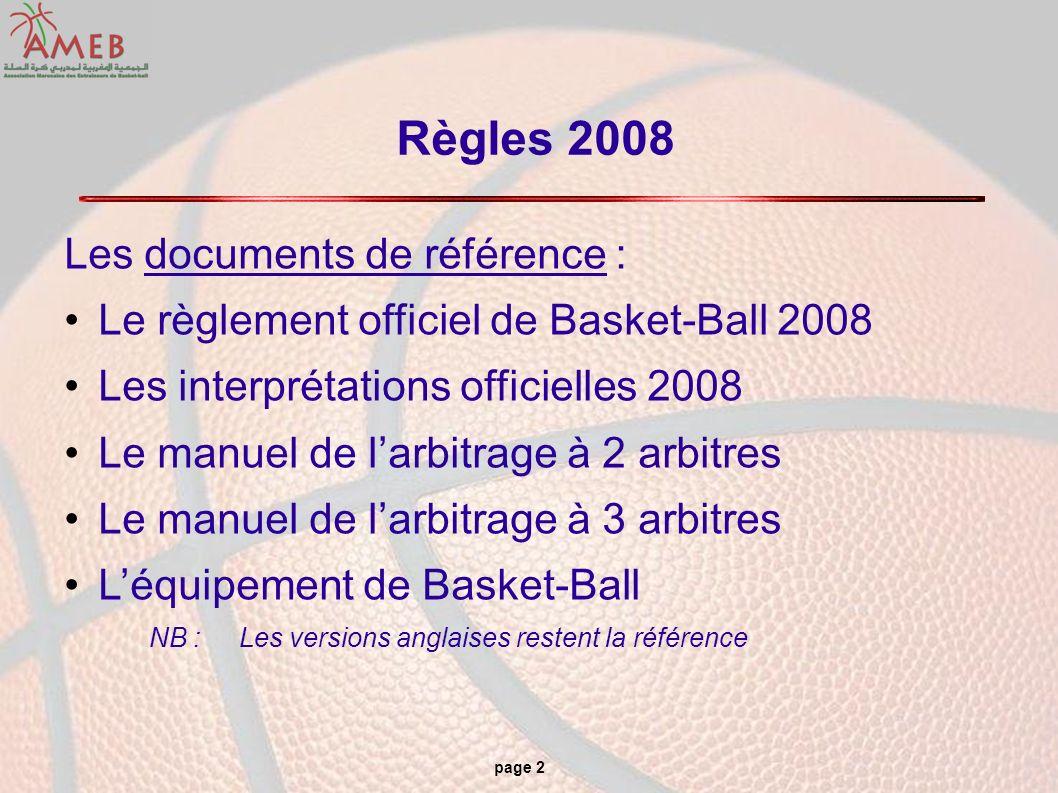page 2 Règles 2008 Les documents de référence : Le règlement officiel de Basket-Ball 2008 Les interprétations officielles 2008 Le manuel de larbitrage
