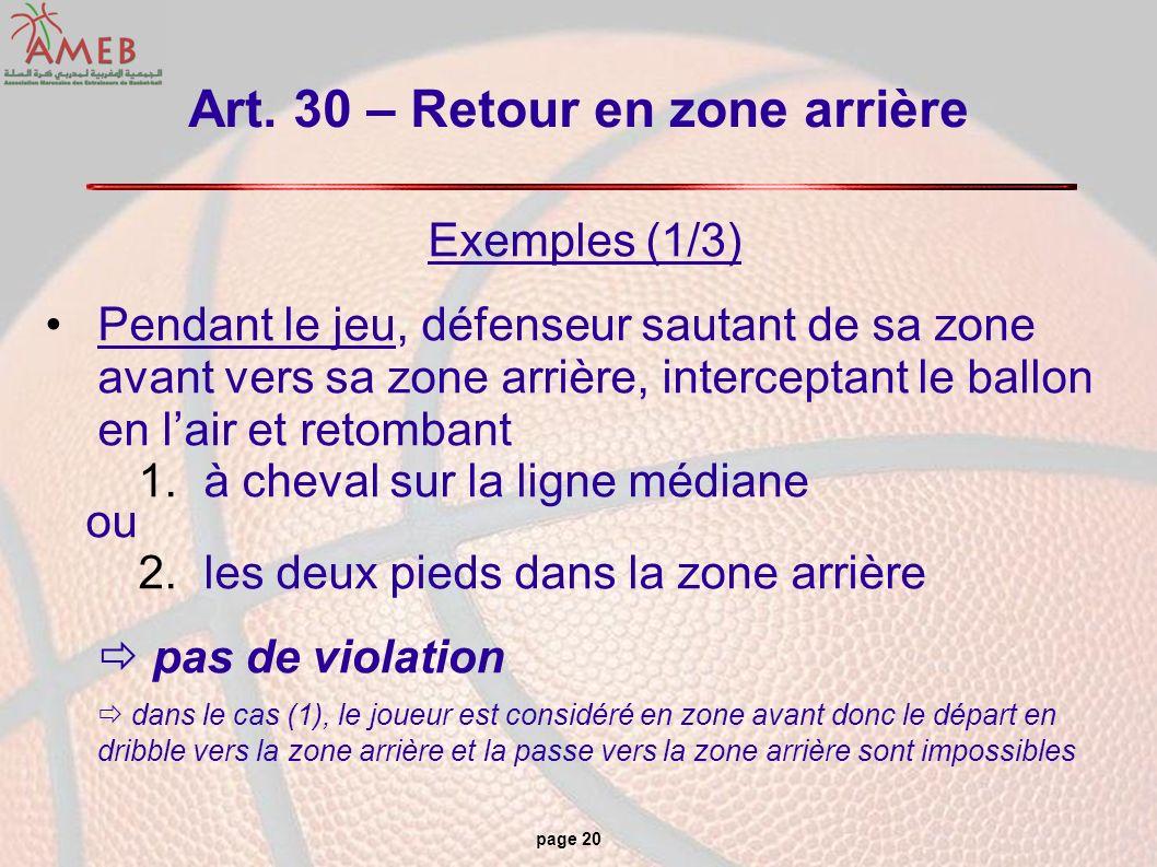 page 20 Art. 30 – Retour en zone arrière Exemples (1/3) Pendant le jeu, défenseur sautant de sa zone avant vers sa zone arrière, interceptant le ballo