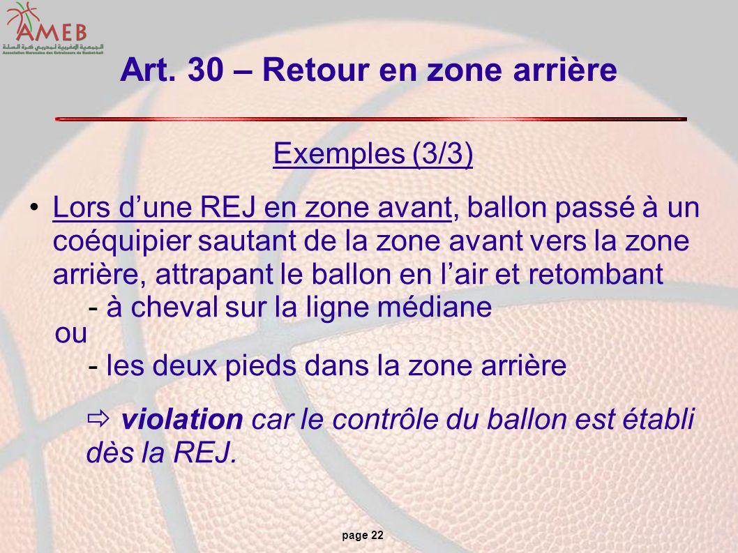 page 22 Art. 30 – Retour en zone arrière Exemples (3/3) Lors dune REJ en zone avant, ballon passé à un coéquipier sautant de la zone avant vers la zon