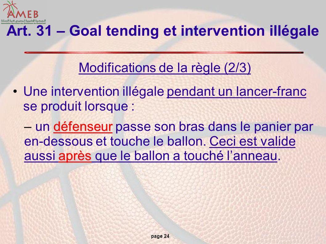 page 24 Art. 31 – Goal tending et intervention illégale Modifications de la règle (2/3) Une intervention illégale pendant un lancer-franc se produit l