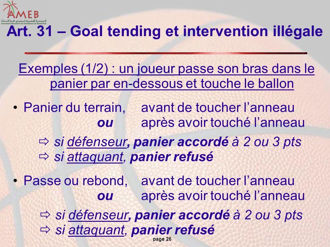 page 26 Art. 31 – Goal tending et intervention illégale joueur Exemples (1/2) : un joueur passe son bras dans le panier par en-dessous et touche le ba