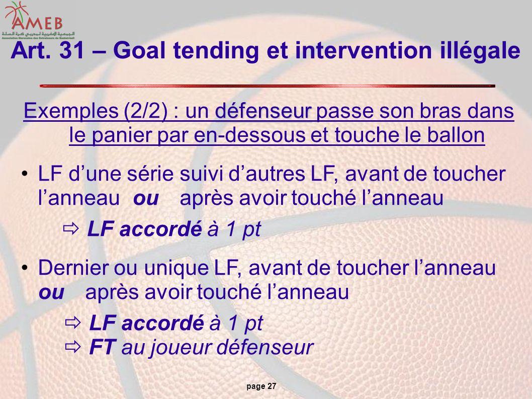 page 27 Art. 31 – Goal tending et intervention illégale défenseur Exemples (2/2) : un défenseur passe son bras dans le panier par en-dessous et touche