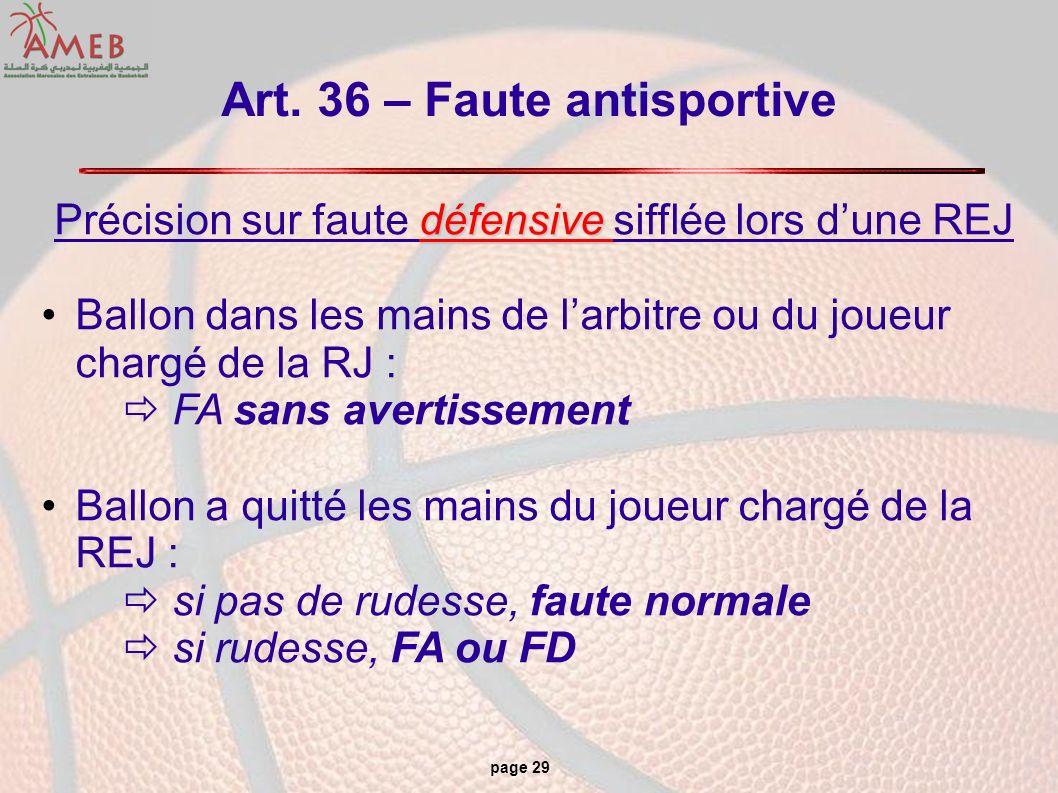 page 29 Art. 36 – Faute antisportive défensive Précision sur faute défensive sifflée lors dune REJ Ballon dans les mains de larbitre ou du joueur char