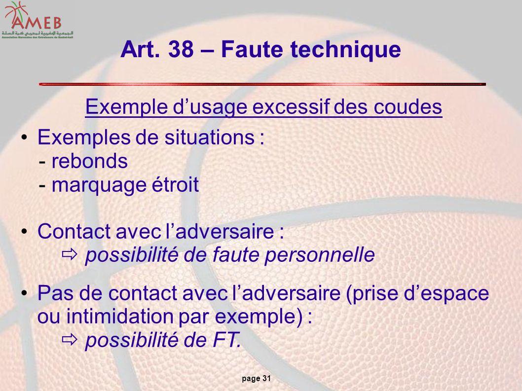 page 31 Art. 38 – Faute technique Exemple dusage excessif des coudes Exemples de situations : - rebonds - marquage étroit Contact avec ladversaire : p