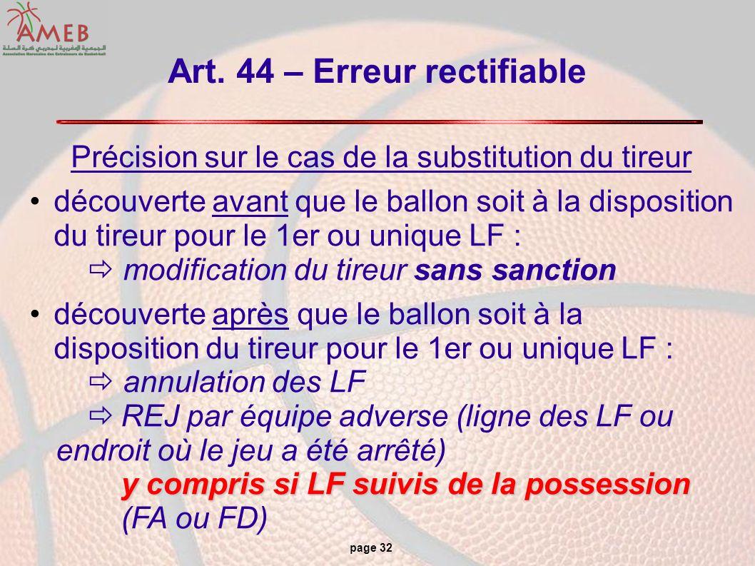 page 32 Art. 44 – Erreur rectifiable Précision sur le cas de la substitution du tireur découverte avant que le ballon soit à la disposition du tireur
