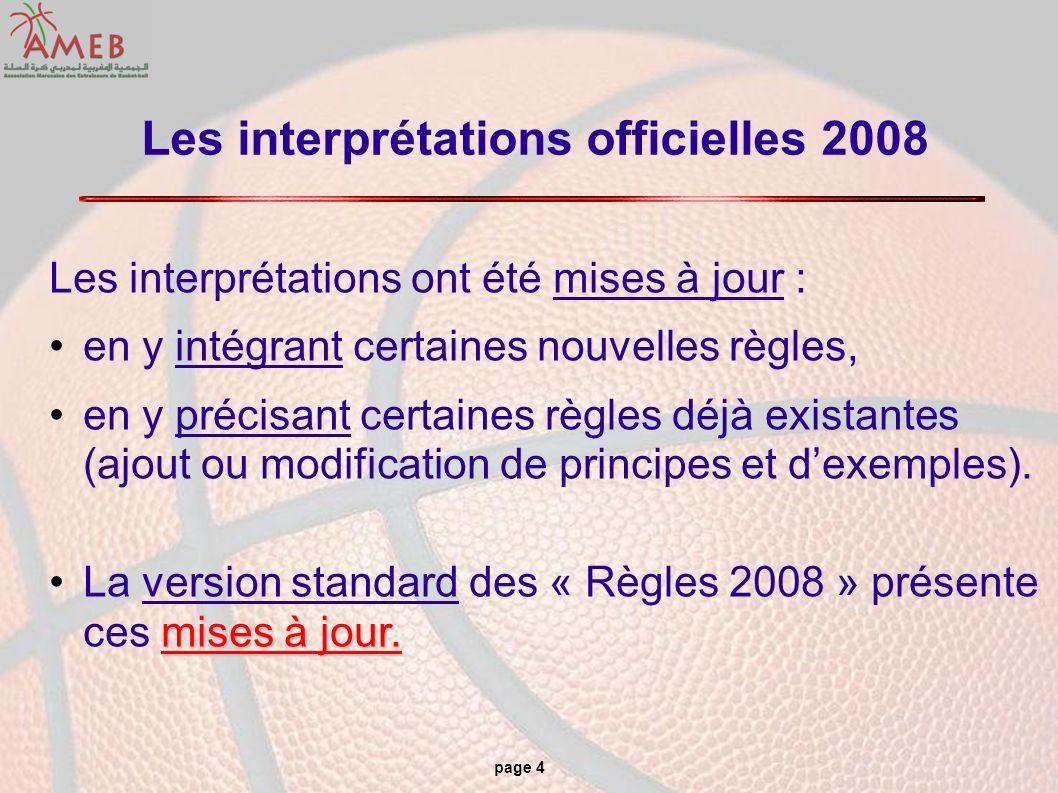 page 4 Les interprétations officielles 2008 Les interprétations ont été mises à jour : en y intégrant certaines nouvelles règles, en y précisant certa