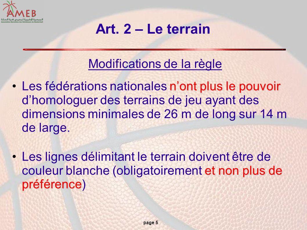 page 5 Art. 2 – Le terrain Modifications de la règle nont plus le pouvoirLes fédérations nationales nont plus le pouvoir dhomologuer des terrains de j
