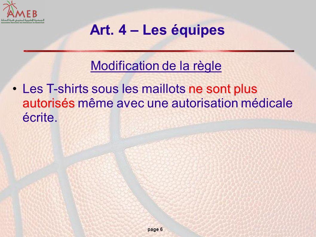 page 6 Art. 4 – Les équipes Modification de la règle ne sont plus autorisésLes T-shirts sous les maillots ne sont plus autorisés même avec une autoris