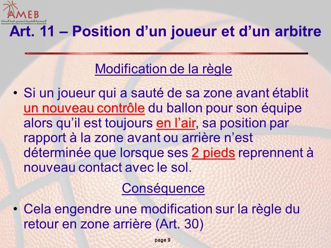 page 9 Art. 11 – Position dun joueur et dun arbitre Modification de la règle un nouveau contrôle en lair 2 piedsSi un joueur qui a sauté de sa zone av