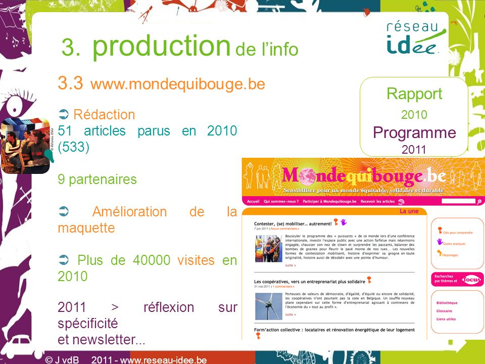 Rapport 2010 Programme 2011 3. production de linfo © J vdB 2011 - www.reseau-idee.be 3.3 www.mondequibouge.be Rédaction 51 articles parus en 2010 (533