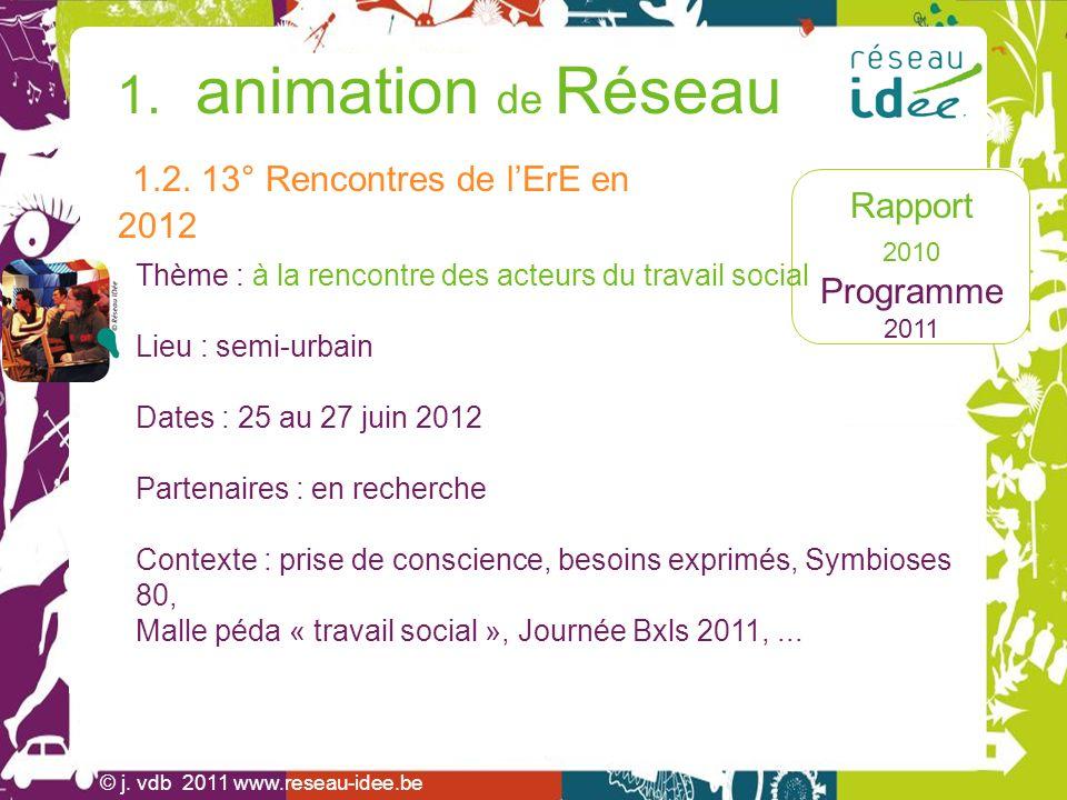 Rapport 2010 Programme 2011 1.animation de Réseau J.
