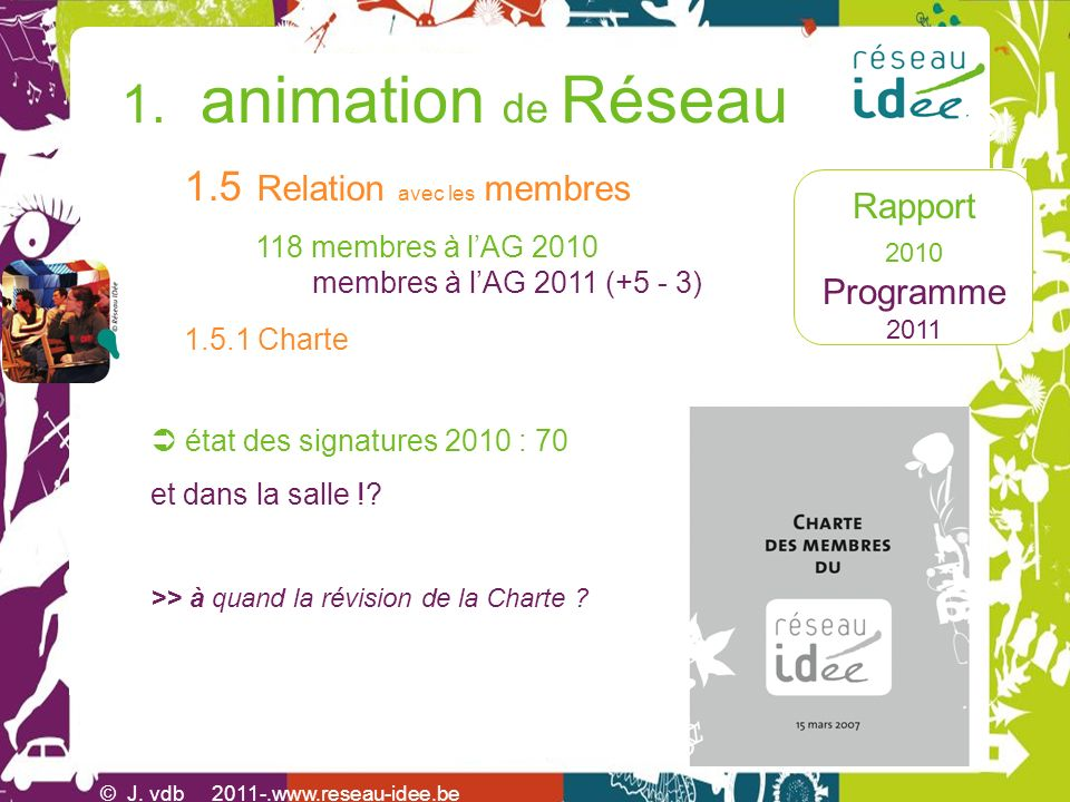 Rapport 2010 Programme 2011 © J.vdb 2011 - www.reseau-idee.be 1.