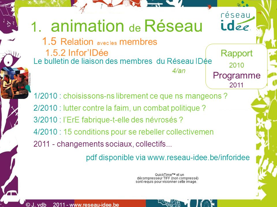 Rapport 2010 Programme 2011 © J.vdb 2011 -www.reseau-idee.be 1.