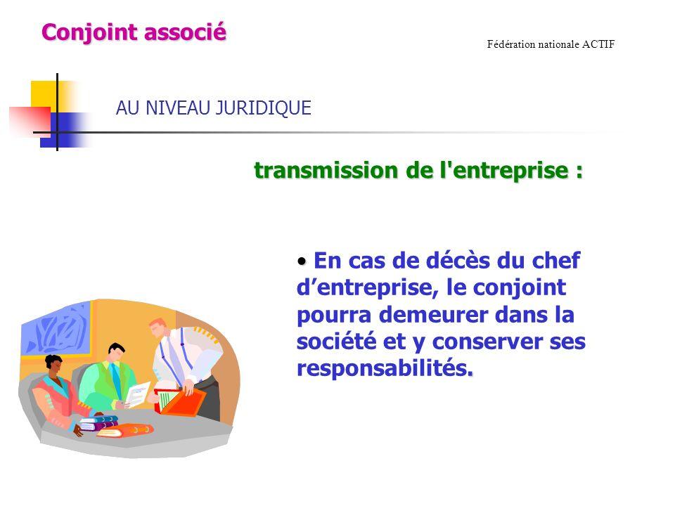 AU NIVEAU JURIDIQUE Fédération nationale ACTIF transmission de l entreprise : transmission de l entreprise :.