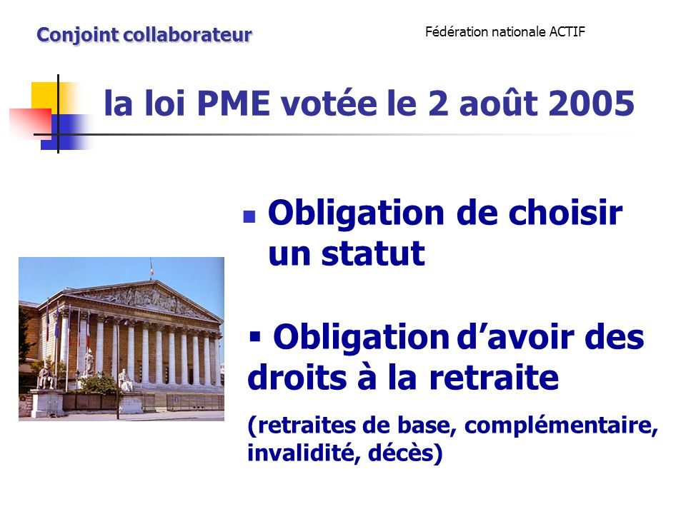 la loi PME votée le 2 août 2005 Obligation de choisir un statut Fédération nationale ACTIF Conjoint collaborateur Obligation davoir des droits à la retraite (retraites de base, complémentaire, invalidité, décès)