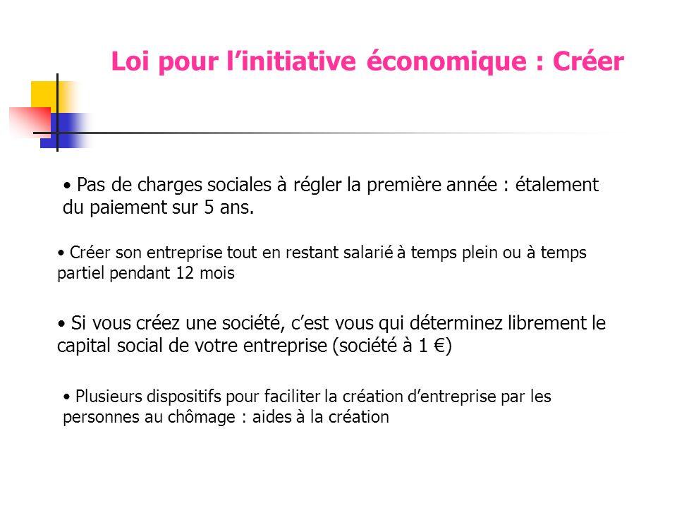 Loi pour linitiative économique : Créer Pas de charges sociales à régler la première année : étalement du paiement sur 5 ans.